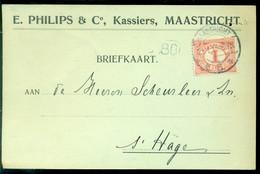 Nederland 1915? Briefkaart Van Maastricht Naar Scheurleer Den Haag NVPH 50 - Covers & Documents