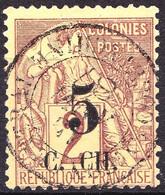 COCHINCHINE - 3 - 5 Sur 2c Lilas/brun - Oblitéré (Très Beau Cachet Centré) - Très Beau - Oblitérés