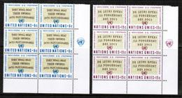 UNITED NATIONS---New York  Scott # 177-8** VF MINT NH INSCRIPTION BLOCKS Of 6 (LG-1283) - Neufs