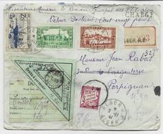 ALGERIE 1FR75+2FR25+10C LETTRE CHARGE ALGER 5.11.1941 + TAXE 3FR LILAS PERPIGNAN + ETIQUETTE DOUANE - Briefe U. Dokumente