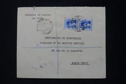 EGYPTE - Enveloppe De La Légation De France Du Caire En Recommandé Pour Paris En 1938 - L 90722 - Lettres & Documents
