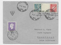 PETAIN MERCURE SURCHARGE LIBERATION LETTRE GUERANDE 9.5.1945 POUR PORNICHET DULAC 1FR UTILISATION TIMBRE TAXE - Liberation