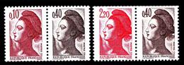Paires 2179a + 2376b - Liberté Composées - Neufs N** - Très Beaux - 1982-90 Liberté De Gandon