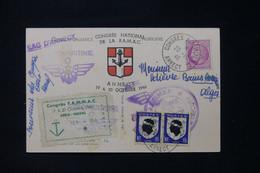 FRANCE - Carte Postale Avec Cachets Et Vignette Du Congrés Aéro Naval En 1946 De Annecy Pour Alger - L 90731 - Seepost