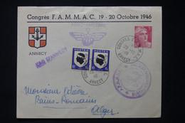 FRANCE - Enveloppe Avec Cachets Et Vignette ( Au Dos ) Du Congrés Aéro Naval En 1946 De Annecy Pour Alger - L 90732 - Seepost