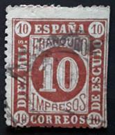 ESPANA ESPAGNE SPAIN 1867, Isabela II, IMPRESOS Yvert 94, 10 M BRUN Obl BTB - Oblitérés