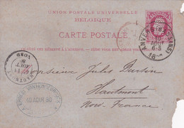 Carte Entier Postal 1880 Perforé Anvers Bassins à Hautmont - Postales [1871-09]