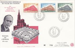 Env Affr Y&T Service 53 + 54 + 55 STRASBOURG CONSEILDE L'EUROPE Du 28.1.1977 - Alsace Lorraine