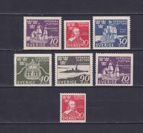 SWEDEN 1944, Sc# 351-357, CV $30, Personalities, Ships, MNH - Ongebruikt