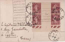 """FRANCE : 15 C . TYPE SEMEUSE . BLOC DE 4 . BDF . OBL MECANIQUE . """" JOURNEE Nle ORPHELINS MEDAILLES MILITAIRES """" . 1930 . - Ohne Zuordnung"""