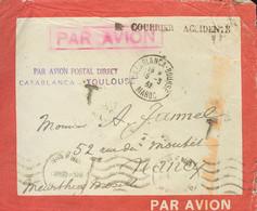 Correo Aéreo Accidentado. Sobre . 1932. Correo Aéreo De CASABLANCA A NANCY (FRANCIA), Sello Desprendido A Causa Del Agua - Unclassified