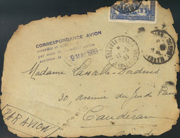 Correo Aéreo Accidentado. Sobre . 1933. 1'50 F Azul De Marruecos Francés. Correo Aéreo De CASABLANCA A CAUDERAN (FRANCIA - Unclassified