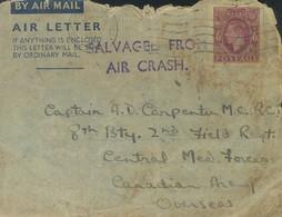 Correo Aéreo Accidentado. Sobre . 1944. 6 P Violeta Sobre Entero Postal Con Origen En ANGLESEY (GRAN BRETAÑA) Y Dirigida - Unclassified