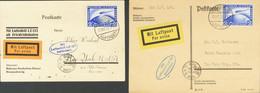 Alemania, Aéreo. Sobre Yv 36(2). 1928. Conjunto De Dos Tarjetas Postales Circuladas Por Graf Zeppelin Y Franqueadas Con  - Unclassified