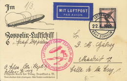 Alemania, Aéreo. Sobre Yv 32. 1929. 1 M Negro Y Rosa. Tarjeta Postal Por Graf Zeppelin Dirigida A MADRID. En El Frente M - Unclassified