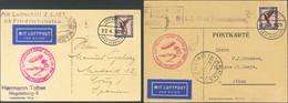 Alemania, Aéreo. Sobre 32(2). 1929. Conjunto De Dos Tarjetas Postales Circuladas Por Graf Zeppelin, Franqueadas Con 1 M  - Unclassified