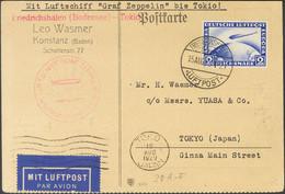 Alemania, Aéreo. Sobre Yv 36. 1929. 2 M Ultramar. Tarjeta Postal Por Graf Zeppelin CONSTANZA A TOKIO (JAPON). En El Fren - Unclassified
