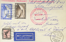 Alemania. Sobre Yv 36, 37, 32. 1929. 2 M Ultramar, 4 M Sepia Y 1 M Negro Y Rojo. Tarjeta Postal Del Graf Zeppelin De FRI - Unclassified