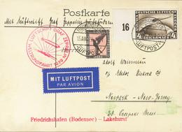 Alemania, Aéreo. Sobre Yv 32, 37. 1929. 1 M Negro Y Rosa Y 4 M Sepia. Tarjeta Postal Por Graf Zeppelin Dirigida A NEWARK - Unclassified