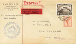 Alemania, Aéreo. Sobre Yv 31, 37. 1929. 50 P Naranja Y 4 M Sepia. Graf Zeppelin De MIMON (CHECOSLOVAQUIA) A NUEVA YORK ( - Unclassified