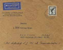 Alemania, Aéreo. Sobre Yv 33. 1929. 2 M Negro Y Azul. Graf Zeppelin De BERLIN A NUEVA YORK (U.S.A.). Matasello FRIEDRICH - Unclassified