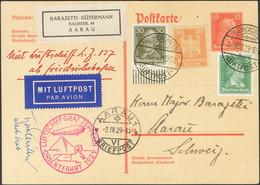 Alemania. Sobre Yv 354, 380a, 386. 1929. 15 P Rojo Sobre Tarjeta Entero Postal Por Graf Zeppelin Dirigida A AARAU (SUIZA - Unclassified