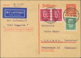 Alemania. Sobre 402, 405(2). 1929. 15 P Naranja Sobre Tarjeta Entero Postal Por Graf Zeppelin Dirigida A OVIEDO, Con Fra - Unclassified