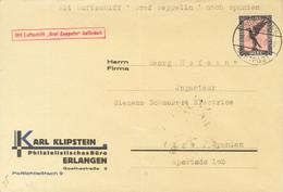 Alemania, Aéreo. Sobre 32. 1929. 1 M Negro Y Rosa. Graf Zeppelin De ERLANGEN A VIGO. Matasello FRIEDRICHSHAFEN / LUFTPOS - Unclassified