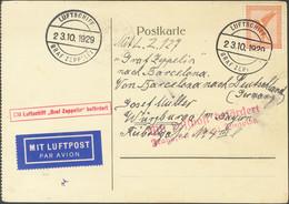 Alemania, Aéreo. Sobre 31. 1929. 50 Cts Naranja. Tarjeta Postal Dirigida A WURZBURGO. Transportada En El Vuelo Del LZ127 - Unclassified