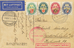 Alemania. Sobre Yv 421/24. 1929. 5 P Verde, 8 P Verde Oscuro, 15 P Carmín Y 25 P Azul. Tarjeta Postal Por Graf Zeppelin  - Unclassified