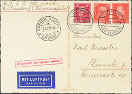 Alemania. Sobre Yv 404, 382, 383. 1929. 10 P Naranja, 10 P Carmín Y 15 P Rojo. Tarjeta Postal Por Graf Zeppelin Dirigida - Unclassified