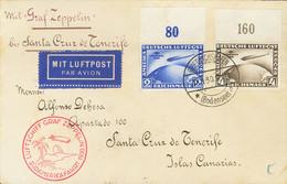Alemania, Aéreo. Sobre Yv 38/39. 1930. Serie Completa, Borde De Hoja. Graf Zeppelin De FRIEDRICHSHAFEN A SANTA CRUZ DE T - Unclassified