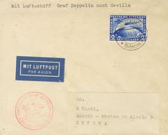 Alemania, Aéreo. Sobre 38. 1930. 2 M Azul. LIBAU A MADRID. Matasello FRIEDRICHSHAFEN Y En El Frente Marca LUFSCHIFF GRAF - Unclassified