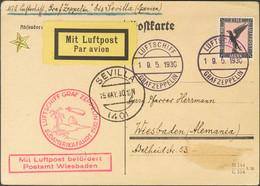 Alemania, Aéreo. Sobre Yv 32. 1930. 1 M Negro Y Rosa. Tarjeta Postal Por Graf Zeppelin Dirigida A WIESBADEN. Vuelo FRIED - Unclassified