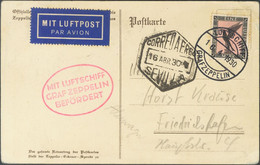 Alemania, Aéreo. Sobre 32. 1930. 1 M Negro Y Rosa. Tarjeta Postal Por Graf Zeppelin Dirigida A FRIEDRICHSHAFEN. Transpor - Unclassified