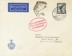 Alemania, Aéreo. Sobre 33. 1930. 2 M Negro Y Azul. Graf Zeppelin Dirigido A HUELVA. Vuelo SEVILLA-FRIEDRICHSHAFEN. MAGNI - Unclassified