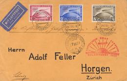 Alemania, Aéreo. Sobre Yv 40/42. 1931. Serie Completa. Graf Zeppelin De FRIEDRICHSHAFEN A ZURICH (SUIZA). En El Frente M - Unclassified