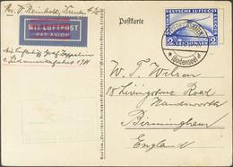 Alemania, Aéreo. Sobre Yv 36. 1931. 2 M Ultramar. Tarjeta Postal Por Graf Zeppelin De FRIEDRICHSHAFEN A BIRMINGHAM (GRAN - Unclassified