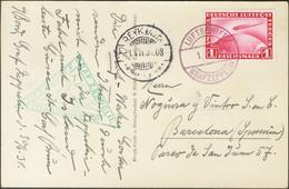 Alemania, Aéreo. Sobre Yv 35. 1931. 1 M Rojo. Tarjeta Postal Por Graf Zeppelin Dirigida A BARCELONA. En El Frente Marca  - Unclassified