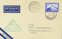 Alemania. Sobre Yv 36. 1931. 2 M Ultramar. Graf Zeppelin Dirigida A REYKJAVIK (ISLANDIA). En El Frente Marca Triangular  - Unclassified