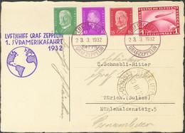Alemania, Aéreo. Sobre Yv 35. 1932. 1 M Rojo, 5 P Verde, 10 P Lila Y 15 P Rojo Carmín. Tarjeta Postal Por Graf Zeppelin  - Unclassified