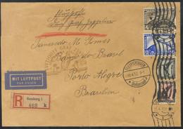 Alemania, Aéreo. Sobre Yv 39, 32, 33, 36. 1932. 4 M Sepia, 1 M, 2m Y 2 M Ultramar. Graf Zeppelin De HAMBURGO A PORTO ALE - Unclassified