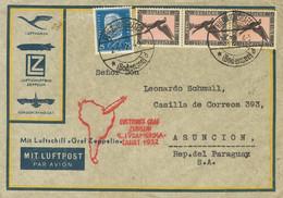 Alemania, Aéreo. Sobre Yv 32(3). 1932. 1 M Negro Y Rosa, Tres Sellos Y 25 P Azul. Graf Zeppelin De FRIEDRICHSHAFEN A ASU - Unclassified