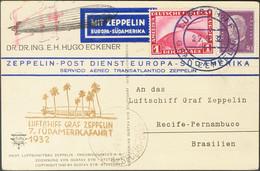 Alemania. Sobre Yv 409, Aéreo 35. 1932. 40 P Violeta Y 1 M Rojo. Tarjeta Postal Por Graf Zeppelin Dirigida A RECIFE (BRA - Unclassified