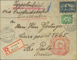 Alemania. Sobre Yv 402, 426. 1932. 5 P Verde Y 2 M Azul. Graf Zeppelin De NUREMBERG A SAO PAULO (BRASIL). En El Frente M - Unclassified