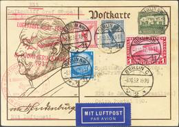 Alemania. Sobre Yv 442, Aéreos 28, 30, 35. 1932. 6 P Verde Sobre Tarjeta Entero Postal Por Graf Zeppelin De BERLIN A RIO - Unclassified
