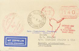 Alemania, Aéreo. Sobre Yv . 1932. Franqueo Mecánico De 140 P Rojo. Tarjeta Postal Por Graf Zeppelin De BERLIN A RECIFE ( - Unclassified