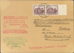Alemania. Sobre Yv 466(2). 1933. 40 P Castaño Violeta, Pareja. Tarjeta Postal Por Graf Zeppelin De BERLIN A BARCELONA. M - Unclassified