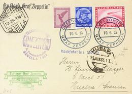 Alemania. Sobre Yv 469, Aéreos 29, 35. 1933. 25 P Ultramar Y Aéreos De 15 P Violeta Y 1 M Rojo. Tarjeta Postal Por Graf  - Unclassified