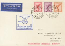 Alemania, Aéreo. Sobre Yv 28, 29, 31. 1933. 10 P Rojo, 15 P Lila Y 50 P Naranja. Tarjeta Postal Por Graf Zeppelin Dirigi - Unclassified